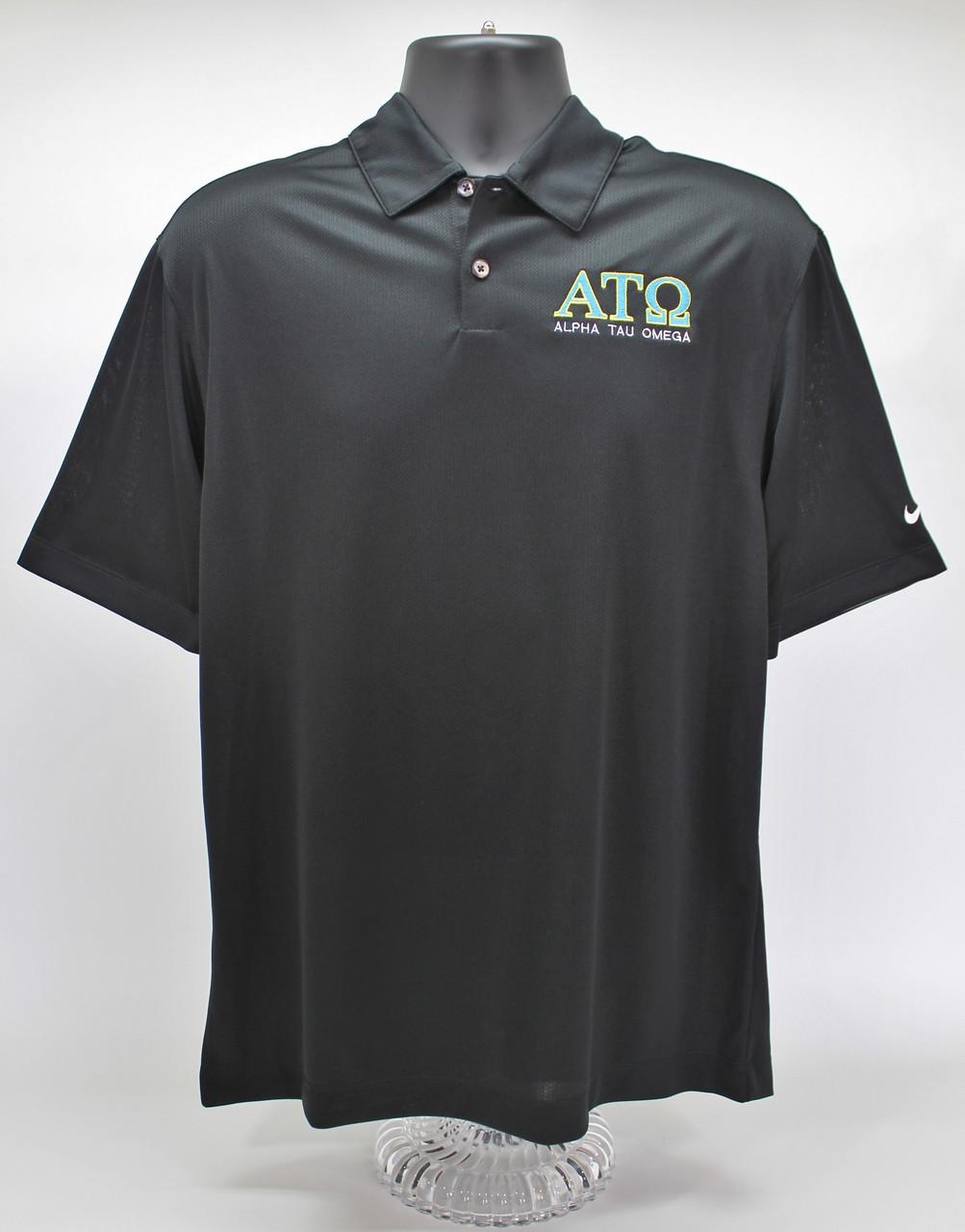 cd3a415d Alpha Tau Omega Nike Dry Fit Black Polo Golf Shirt - Bro Graphics