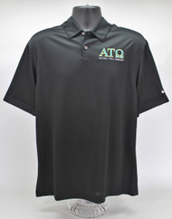 Alpha Tau Omega Nike Dry Fit Black Polo Shirt -Front