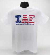 Sigma Alpha Epsilon Fraternity USA T-Shirt White -Front
