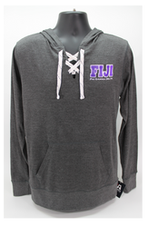 Phi Gamma Delta Long Sleeve Hooded T-Shirt Grey Hoodie -Front