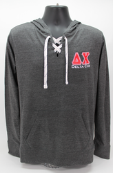 Delta Chi Long Sleeve Hooded T-Shirt Grey Hoodie -Front
