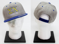 Sigma Chi Snapback Hat Grey Twill with Blue Brim ΣX
