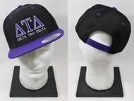 Delta Tau Delta Snapback Black Hat with Purple Brim ΔΤΔ