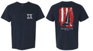 Sigma Chi Navy Blue Est 1855 Flag Sailboat T-Shirt ΣX