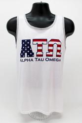 Alpha Tau Omega USA White Tank Top -Front