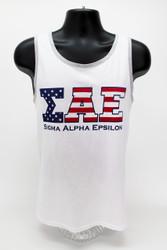 Sigma Alpha Epsilon USA White Tank Top -Front