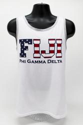 Phi Gamma Delta USA White Tank Top -Front