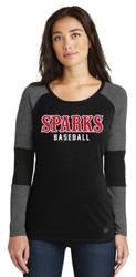 Sparks New Era® Ladies Tri-Blend Performance Baseball Long Sleeve Tee