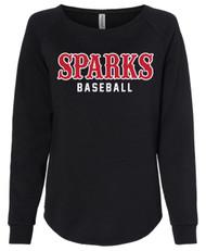 Sparks Women's California Wave Wash Crewneck Sweatshirt Black