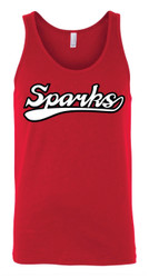 New Logo Sparks Canvas Unisex Jersey Tank Red