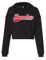 New Logo Sparks Women's Lightweight Cropped Hooded Sweatshirt Black