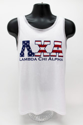 Lambda Chi Alpha USA White Tank Top -Front