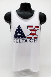Delta Chi USA White Tank Top -Front