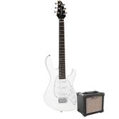 Tanglewood Baretta Arctic White Gloss Electric Guitar with Aroma 10W Black Amp (TE2AWBK-P)