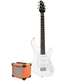 Tanglewood Baretta Arctic White Gloss Electric Guitar with Aroma 10W Orange Amp (TE2AWOR-P)