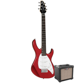 Tanglewood Baretta Candy Apple Red Gloss Electric Guitar with Aroma 10W Black Amp (TE2CRBK-P)