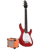 Tanglewood Baretta Candy Apple Red Gloss Electric Guitar with Aroma 10W Orange Amp (TE2CROR-P)