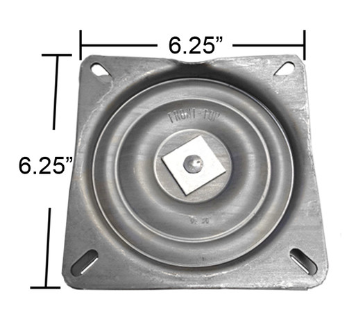 "Replacement Bar Stool Swivel Plate - 6.25"" Square - Pitched / Angled Profile - S4694"