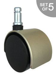 """2"""" Brushed Brass Replacement Office Chair Caster Wheels - Set of 5 - S5306-1"""