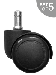 Set of 5 - Replacement Hard Floor Casters for Steelcase Drive Chair