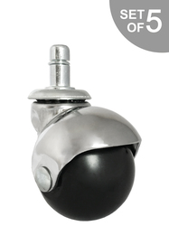 "2"" Chrome Ball Chair Caster w/ Grip Ring Stem - Set of 5 - S5539-5/Bag"