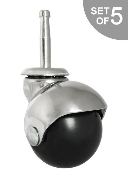 """2"""" Chrome Ball Chair Caster w/ Socket Stem for Insert - Set of 5 - S5555-5/Bag"""
