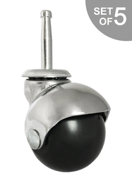 "2"" Chrome Ball Chair Caster w/ Socket Stem for Insert - Set of 5 - S5555-5/Bag"