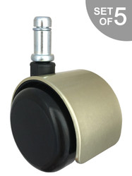 "2"" Brushed Brass Replacement Office Hard Floor Chair Caster Wheels - Set of 5 - S5546"