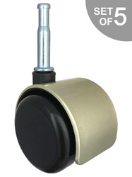 """2"""" Brushed Brass Replacement Office Hard Floor  w/ Grip Neck Mounting Stem for Socket Insert Chair Caster Wheels - Set of 5 - S5547"""