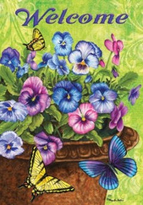 Pansy Welcome Flag
