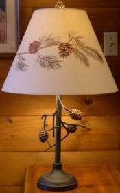 Pine Cone Table lamp with pine cone shade