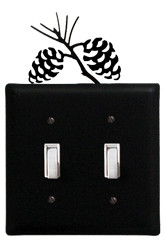 Black wrought iron double switch cover