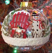 Hand Painted Ornament_ Snowman, Clear