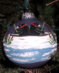 Hand Painted Ornament_Two Bears Fishing in Canoe, Silver