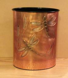 Copper Dragonfly Wastebasket