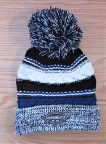Navy, Black and White Pompom Ski Hat