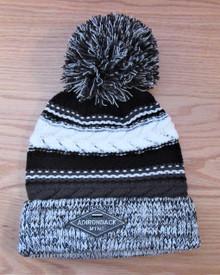 Grey, Black and White Pompom Ski Hat