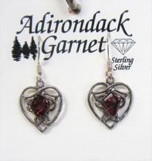 Garnet Heart SterlingEarrings