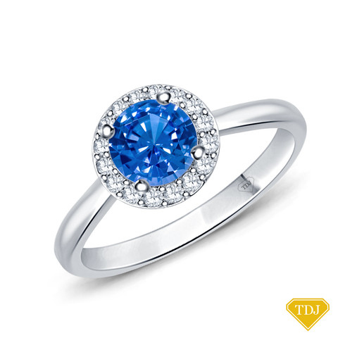 14K White Gold Flower Inspired Halo Accents Engagement Ring Blue Sapphire Top View
