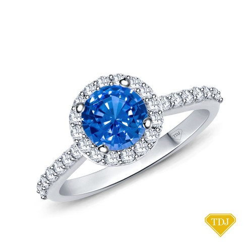 14K White Gold A Beautiful Halo Diamond Engagement Ring Blue Sapphire Top View