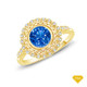 14K White Gold Twisted Shanks Scalloped Pave Set Engagement Ring Blue Sapphire Finger View