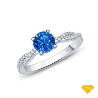 14K White Gold Twisted Shanks Scalloped Pave Set Engagement Ring Blue Sapphire Top View