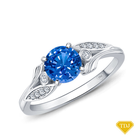 14K White Gold Leaves Inspired Accent Diamond Engagement Ring Blue Sapphire Top View