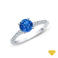 14K White Gold Cathedral Pave Diamond Engagement Ring Blue Sapphire Top View