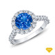 14K White Gold Lotus Flower Halo Style Engagement Ring Blue Sapphire Top View