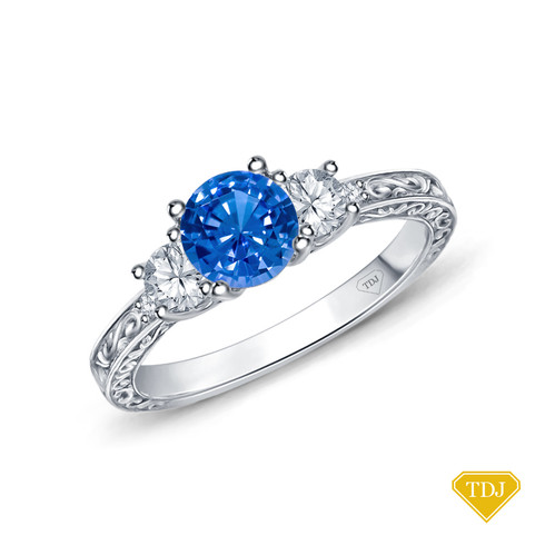 14K White Gold An Antique Scroll Design Three Stone Engagement Ring Blue Sapphire Top View