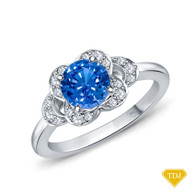 14K White Gold Floral Petal Design Diamond Engagement Ring Blue Sapphire Top View