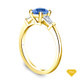 14K Yellow Gold Vibrant Sapphires and Halo Diamond Accents Setting Blue Sapphire Top View