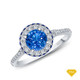 14K White Gold Vibrant Sapphires and Halo Diamond Accents Setting Blue Sapphire Top View