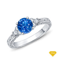 14K White Gold Adorned Scroll Engarving Trio Diamond Engagement Ring Blue Sapphire Top View